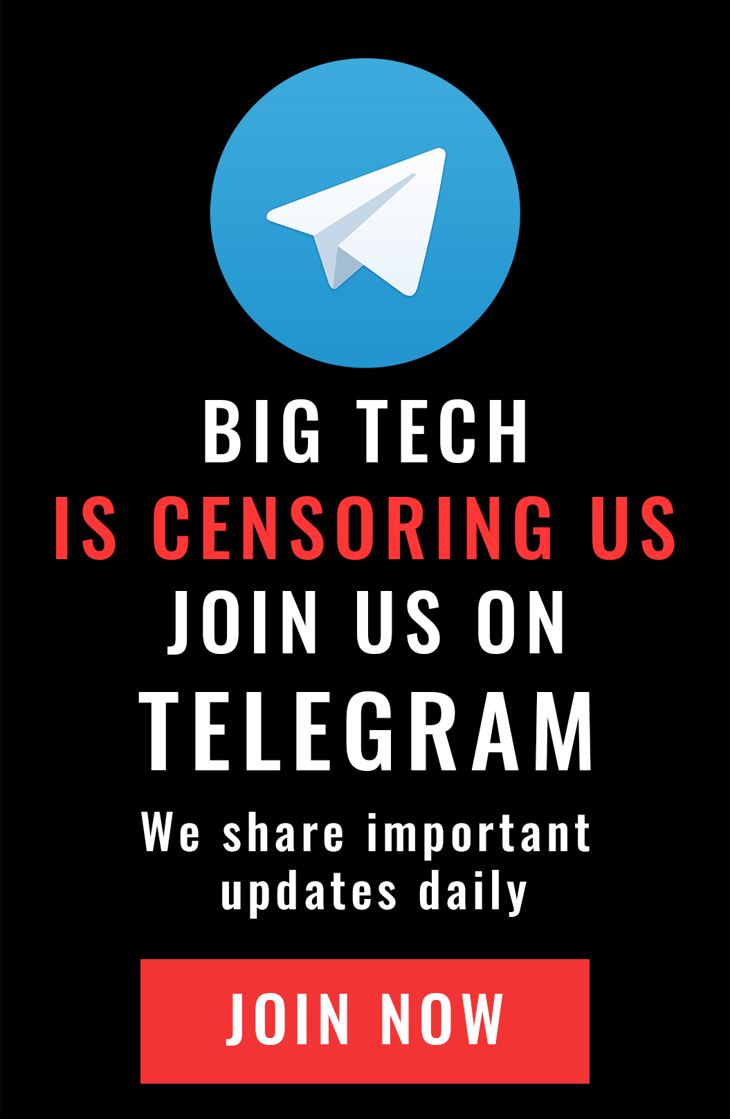 Big Tech is censoring us - join us on telegram
