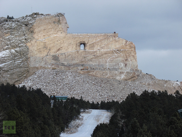 A sacred Native American mountain in South Dakota, which was destroyed to create a privately owned museum about the great indigenous Chiefs (Photo by Nadezhda Kevorkova)