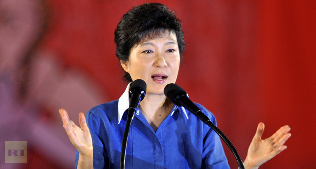 Park Geun-Hye, the daughter of assassinated dictator Park Chung-Hee, speaks after she was elected as a presidential candidate during a national convention of the New Frontier Party for a presidential primary in Goyang, north of Seoul, on August 20, 2012. (AFP Photo/Jung Yeon-Je)