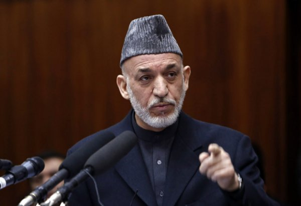 Afghanistan's President Karzai speaks during opening ceremony of the Afghanistan parliament in Kabul