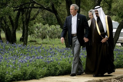 President George W. Bush welcomes Saudi Crown Prince Abdullah to the ranch in Crawford, Texas for meetings Monday, April 25, 2005.  White House photo by David Bohrer
