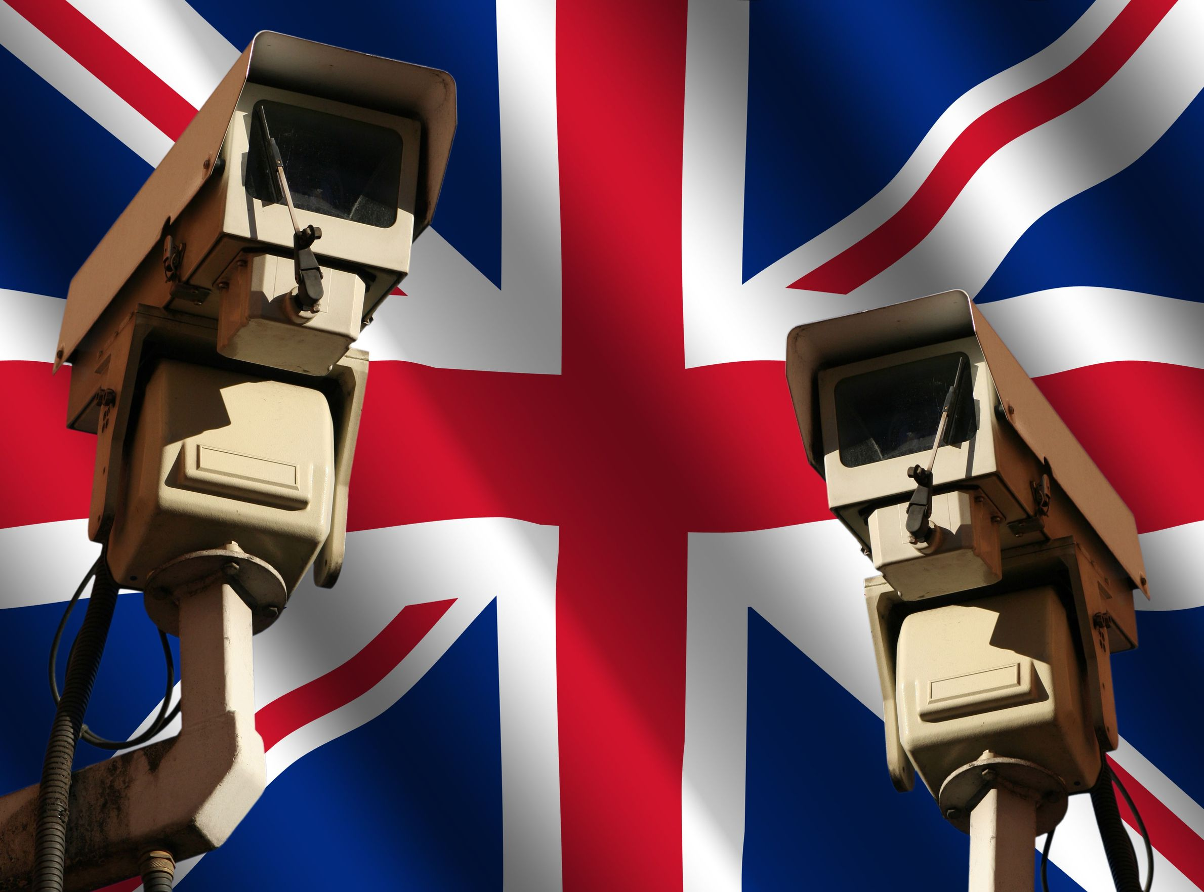 3547687 - two cctv cameras and rippled british flag illustration
