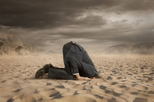 42776058 - young businessman hiding head in the sand