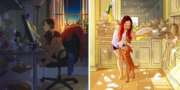 happiness living alone illustrations yaoyao ma van as 58 59914f566a868  700