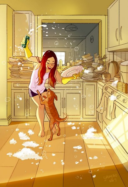 happiness living alone illustrations yaoyao ma van as 58 59914f566a868  700 1