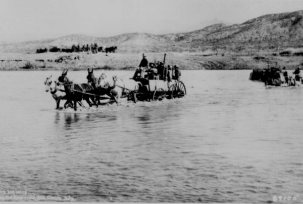 infantry crossing the river