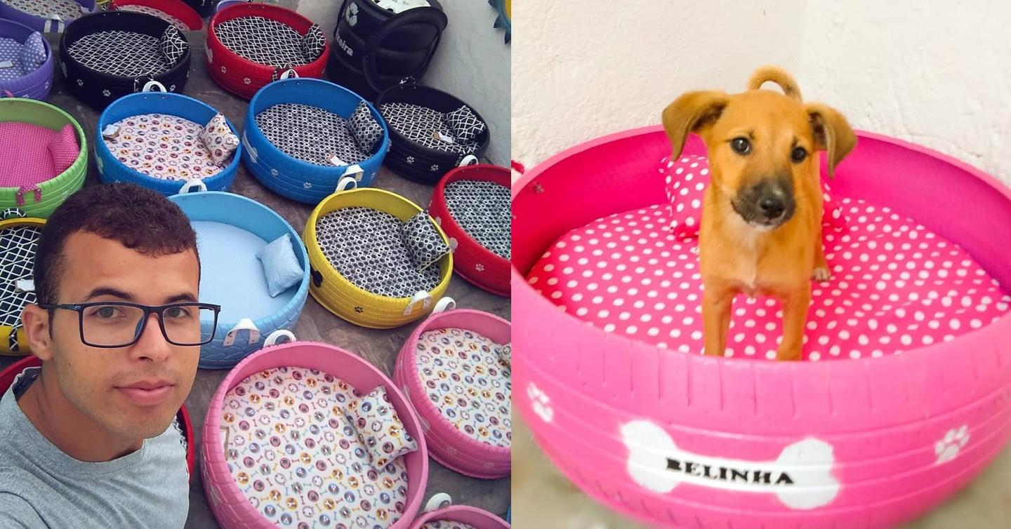 car tires upcycle pet beds