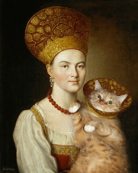 """cats17 """"Portrait of an Unknown Woman in Russian Costume"""" by Argunov"""