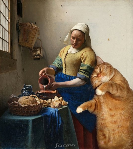 """cats4 """"The Kitchen Maid"""" by Johannes Vermeer"""