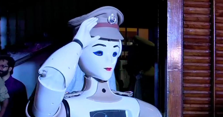 india robot police officer