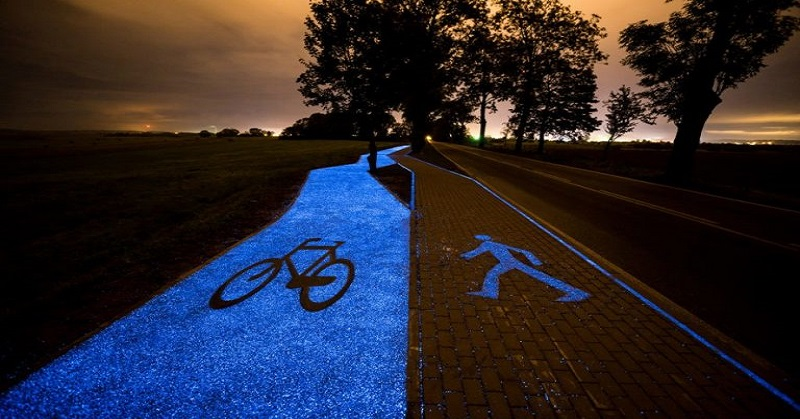 poland unveils glow in the dark bicycle path that is charged by the sun1