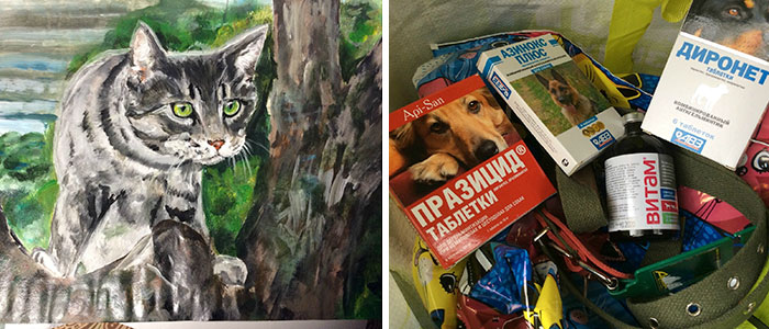 9 year old Russian boy trades his art for abandoned dog food and medicine 5da95a09d95c7 700 1