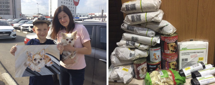 9 year old Russian boy trades his art for abandoned dog food and medicine 5da95cdecdce8 700