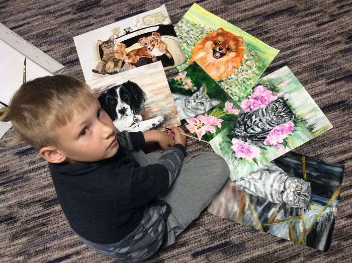 9 year old Russian boy trades his art for abandoned dog food and medicine 5da964d9c33bf 700