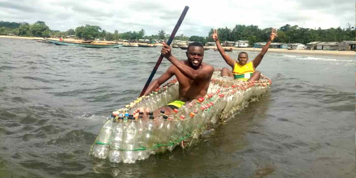 Cameroon Activist Uses Plastic Bottles to Create Boats For His Community