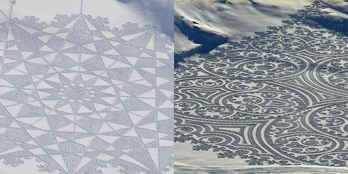 Snowboarder Spends Hours Carving Beautiful Designs Into The Snow 465561