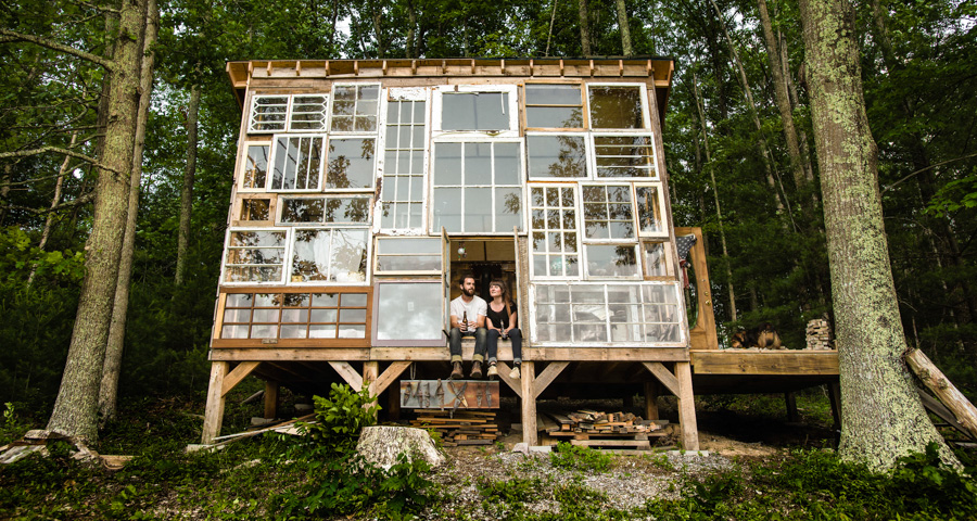 recycled windows cabin