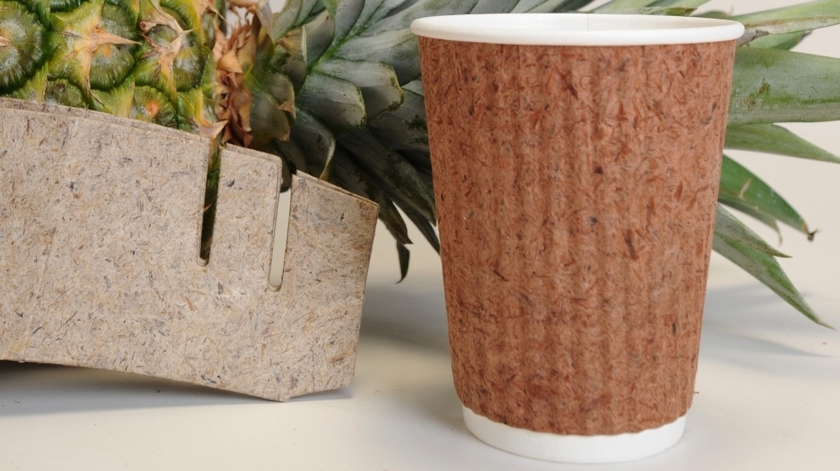 Plastic-free cup made of pineapple leaves