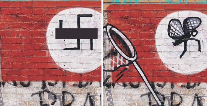 racist graffiti cover up