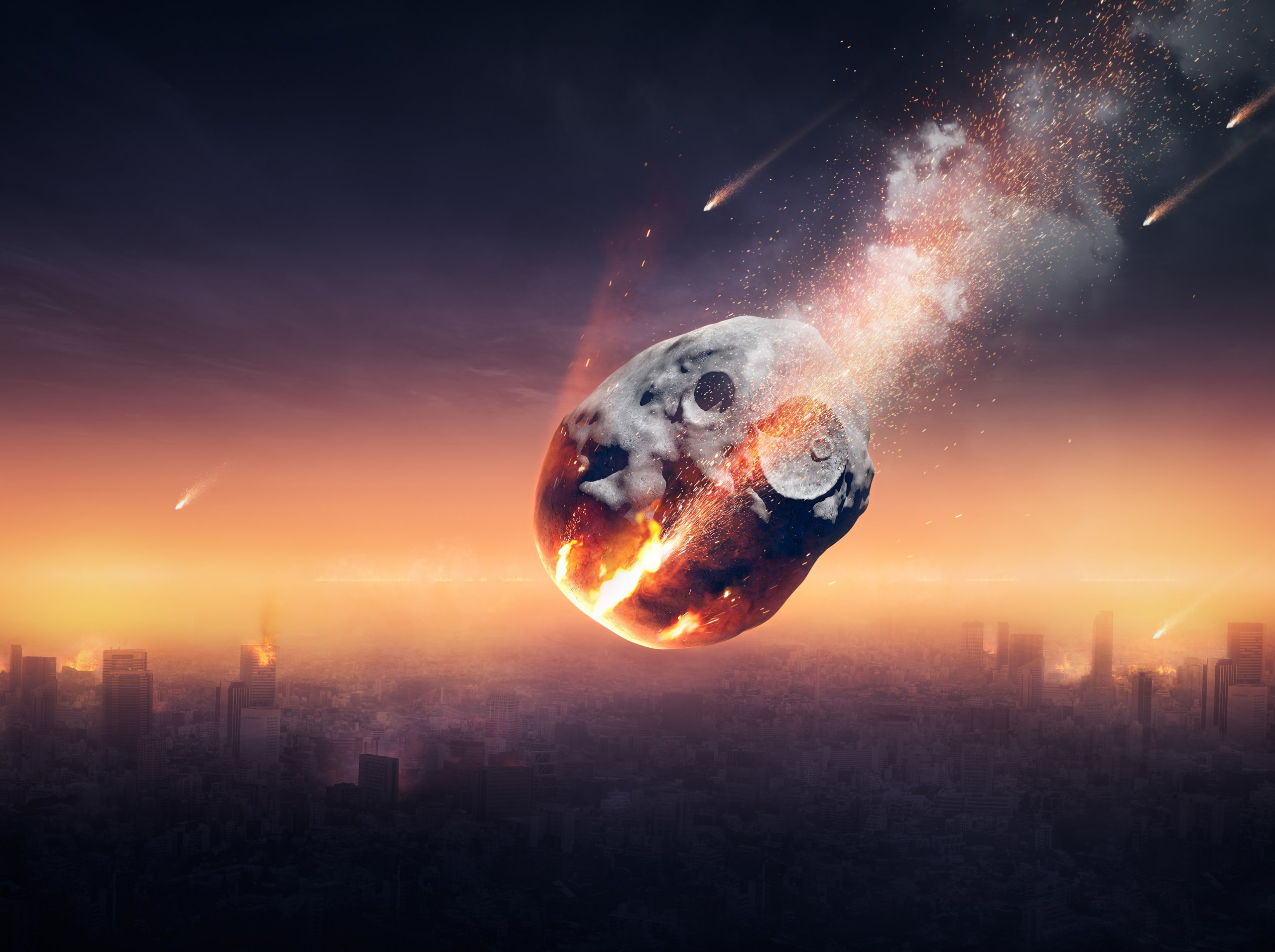 City on earth destroyed by meteor