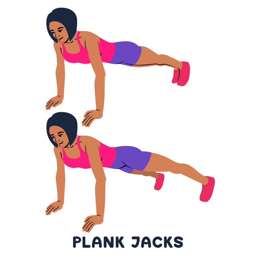 PLank jacks. Plank. Planking. Sport exersice. Silhouettes of woman doing exercise. Workout, training.